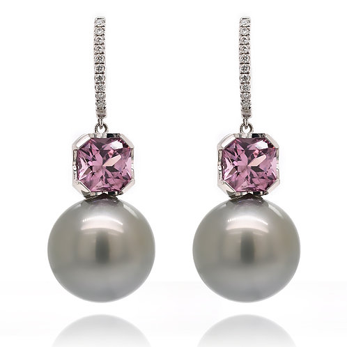 Grey Tahitian Pearl Earrings with violet Spinel