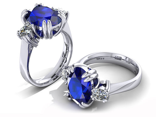 18ct White gold 5ct tanzanite dress ring with oval diamonds