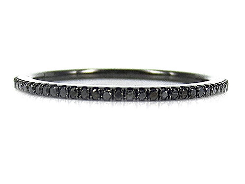 18ct Black rhodium wedding band with black diamonds