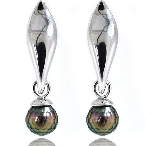 pearl leaf shaped earrings