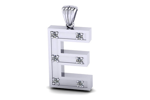 18ct White gold letter pendant with diamonds