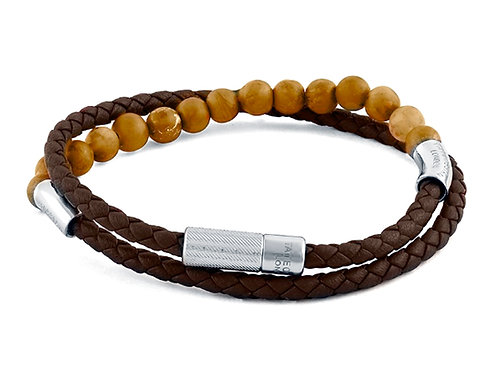 tateossian leather and bead mens bracelet brown