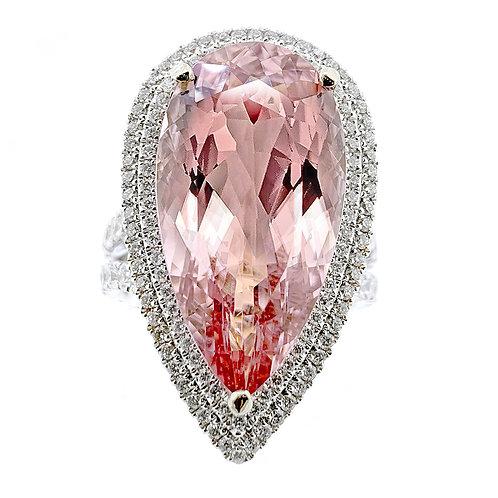 pear morganite dress ring