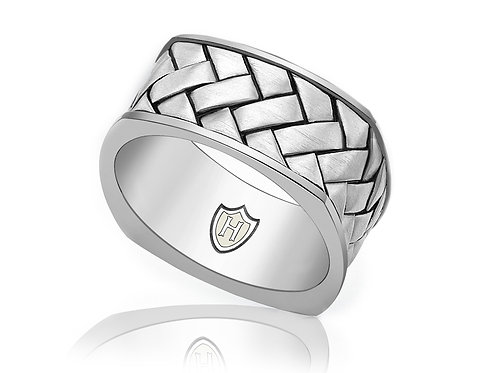 Gents Sterling silver Hoxton braided design ring