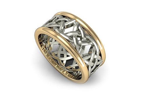 18ct White & yellow gold weave gents ring