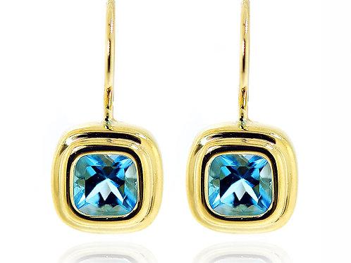 yellow gold blue topaz earrings