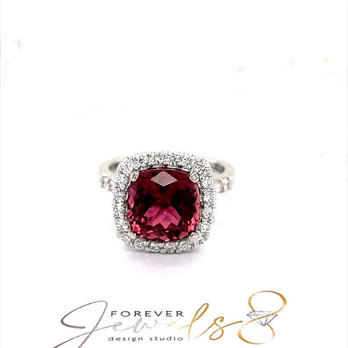 Pink Tourmaline and Diamond Halo Ring