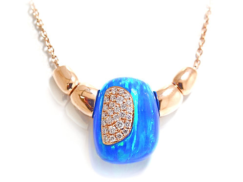 blue opal pendant in rose gold