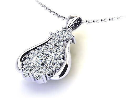 18ct White gold diamond tear drop pendant