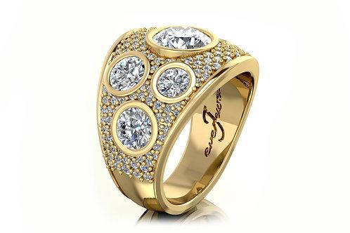 yellow gold diamond pave ring