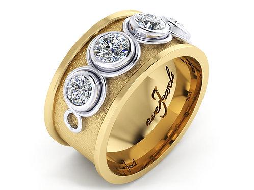bevel set diamond ring in yellow gold