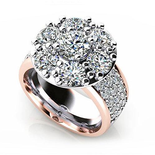 Rose & White Gold Round Brilliant & Pave Diamond Ring
