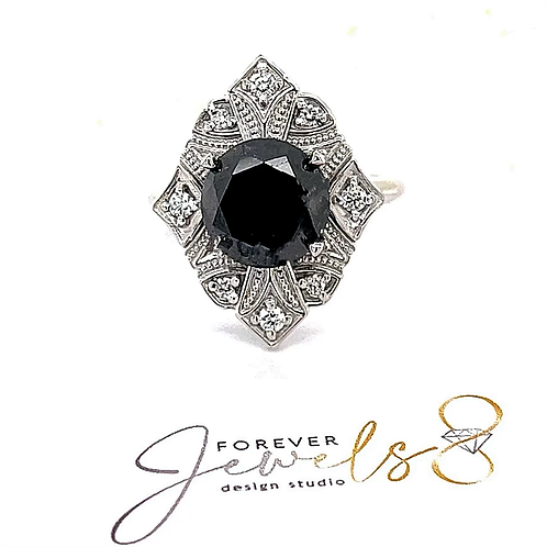 Art Deco Black and White Diamond Ring