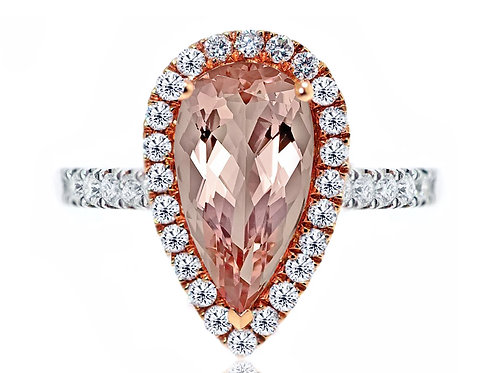 18ct White and rose gold pear cut morganite diamond halo ring