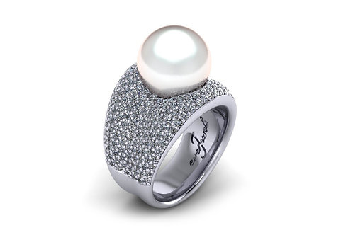 pave diamond pearl ring