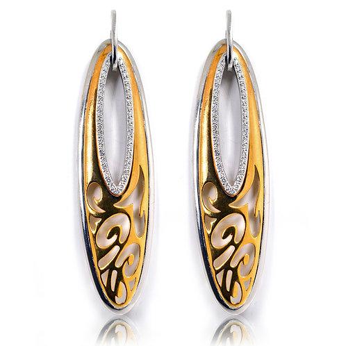 9ct White & Rose Gold Diamond Earrings