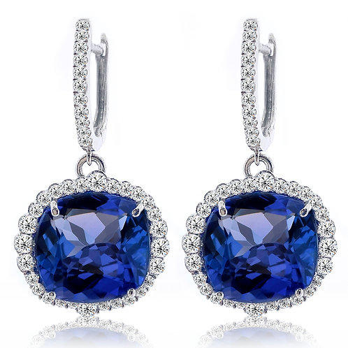 cushion tanzanite earrings with diamonds