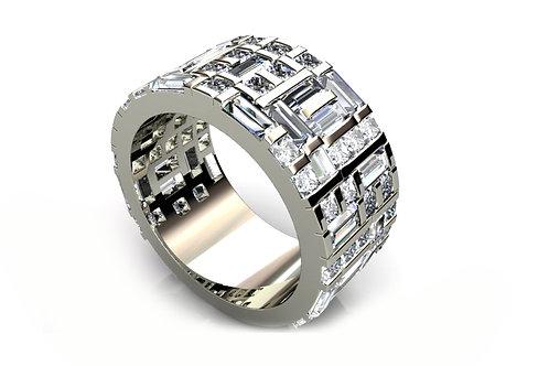18ct White gold emerald and round brilliant diamond wedding band