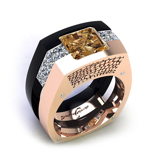 18ct Rose gold crocodile pattern gents ring with a cushion cut cognac diamond