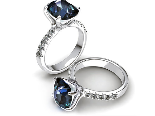 18ct White gold cushion cut blue spinel with diamonds