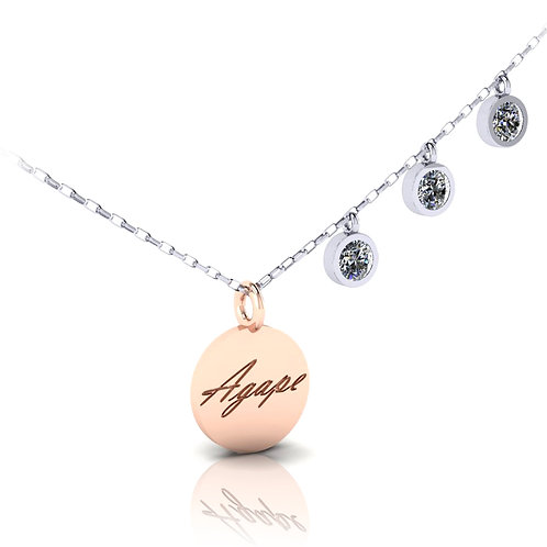 White and rose gold pendant with name