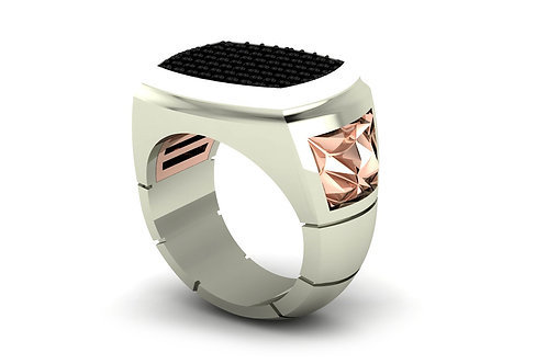 18ct White & rose gold black diamond gents signet ring with pink diamond