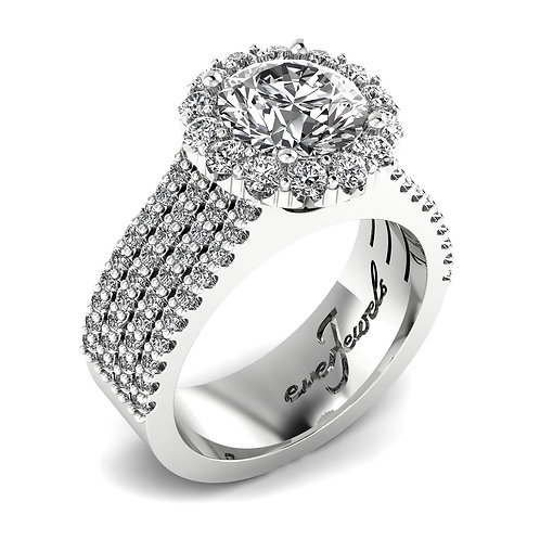 Round Brilliant Diamond Pave Engagement Ring