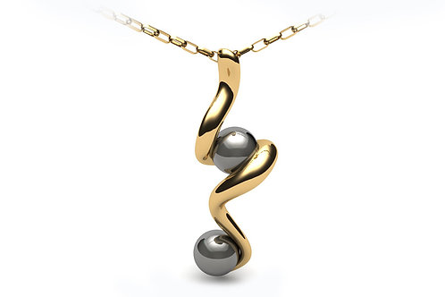 18ct Yellow gold twisted pendant with black water sea pearls