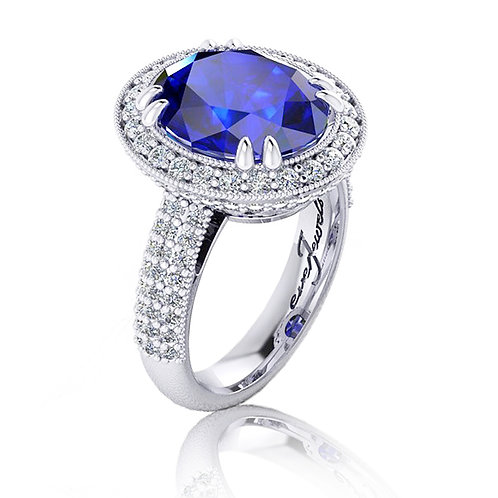 18ct White gold oval tanzanite dress ring with filigree and pave diamonds