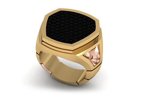 18ct Yellow and rose gold gents signet ring with black & pink diamonds