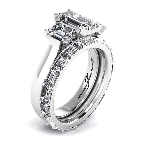 Emerald Cut Diamond Engagement Ring Set