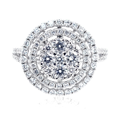 Double Diamond Halo Engagement Ring