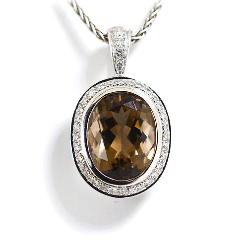 oval smokey quartz pendant with diamonds