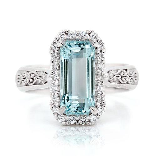 emerald cut aquamarine dress ring