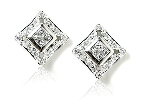 18ct white gold square diamond earring studs