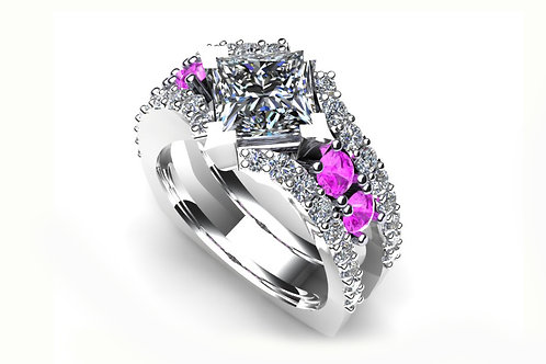 18ct White gold princess cut engagement ring with pink sapphires
