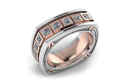 18ct Two Toned Rose & White Gold Princess Diamonds