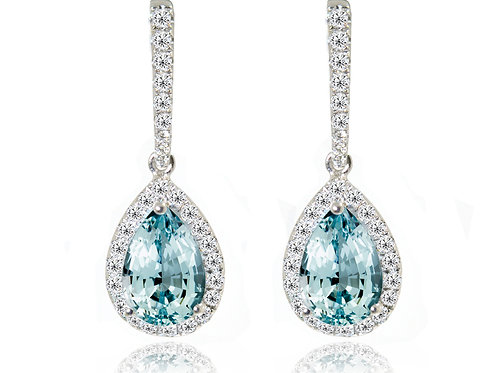 pear cut aquamarine earrings