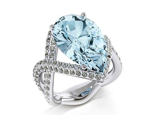 18ct White gold pear cut aquamarine dress ring with diamonds