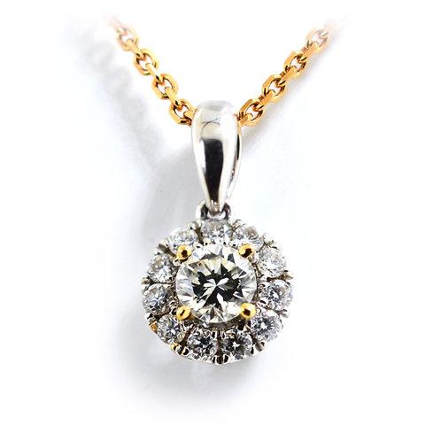 18ct White gold round brilliant diamond halo pendant