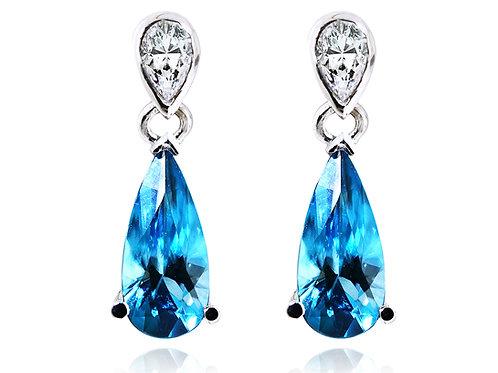 blue pear cut earrings