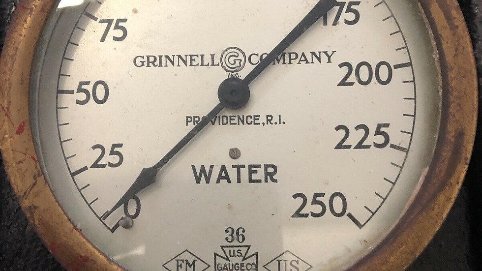 Antique Fire Sprinkler Water Pressure Gauge Grinnell Co Brass 1936 Rat Rod VTG