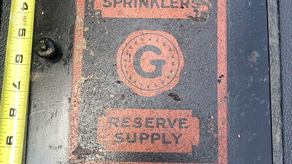 Grinnell Antique VTG Industrial Fire Sprinkler Head Supply Box Sign +Patina OLD!