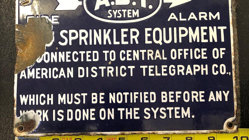 ADT Porcelain Sprinkler Sign