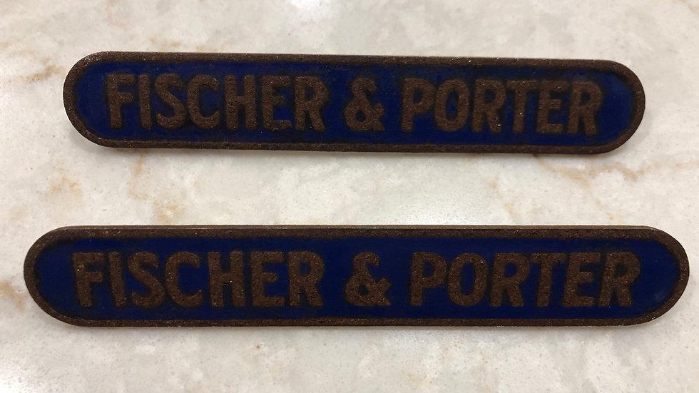 Vtg Fischer & Porter Blue Porcelain Tag Advertising Sign Antique 1937 Warminster
