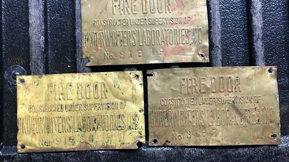 VTG Underwriters Brass Fire Door Tag Antique Industrial Old Sign Steampunk