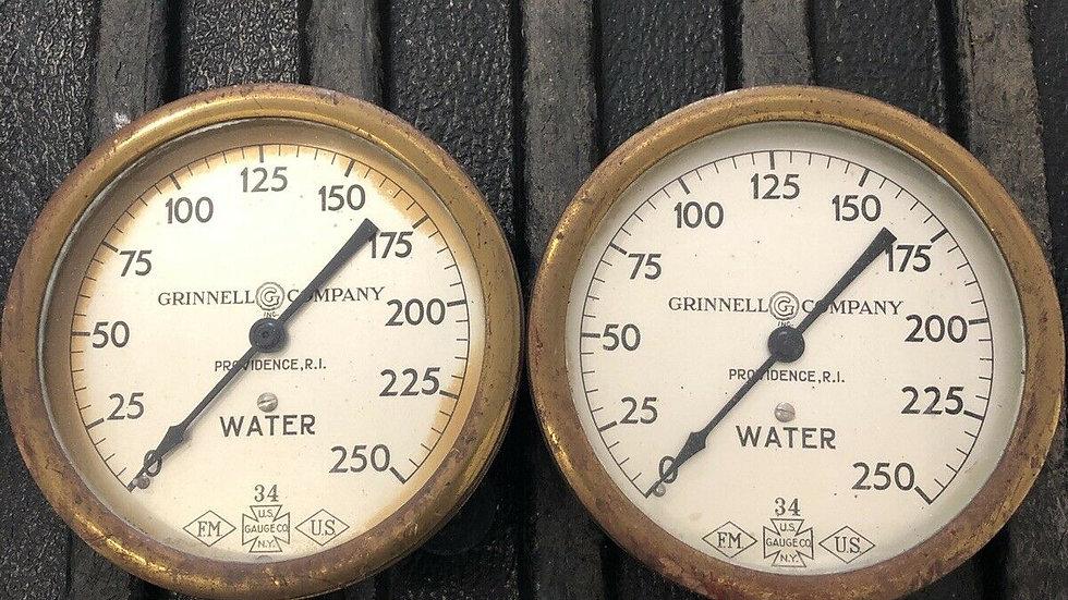 Antique Fire Sprinkler Water Pressure Gauge Grinnell Co Brass 1934 Rat Rod VTG