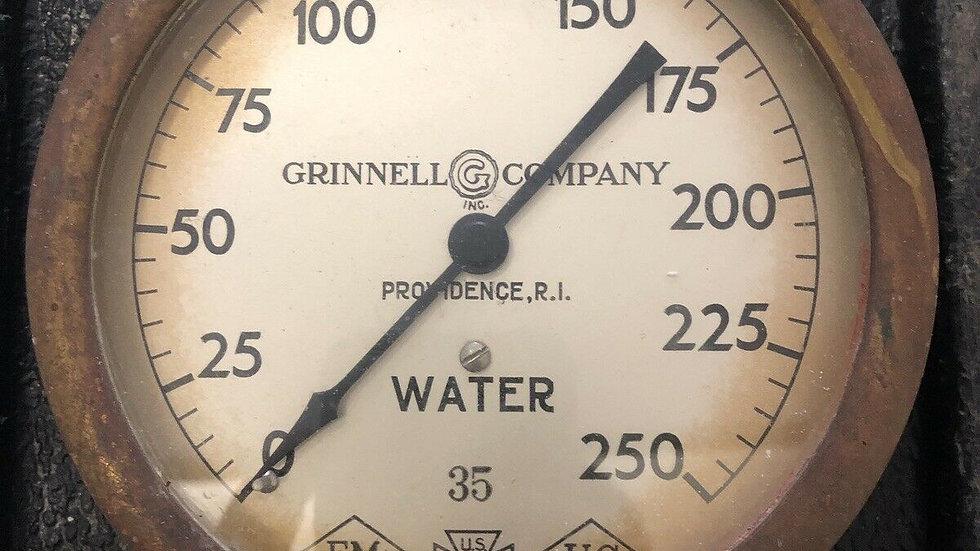 Antique Fire Sprinkler Water Pressure Gauge Grinnell Co Brass 1935 Rat Rod VTG
