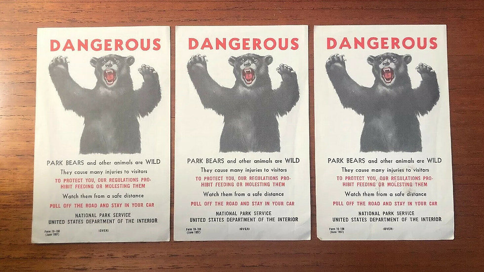 United States National Park Campers Warning Paper of Dangerous Bears. 1957