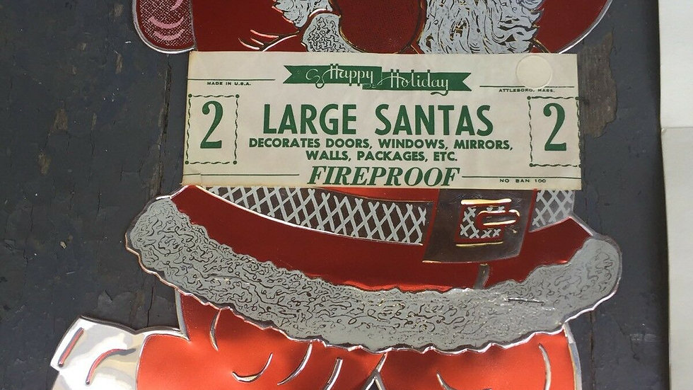 Vtg Day-Glo Fireproof Santa Signs Midcentury Aluminum Antique Christmas